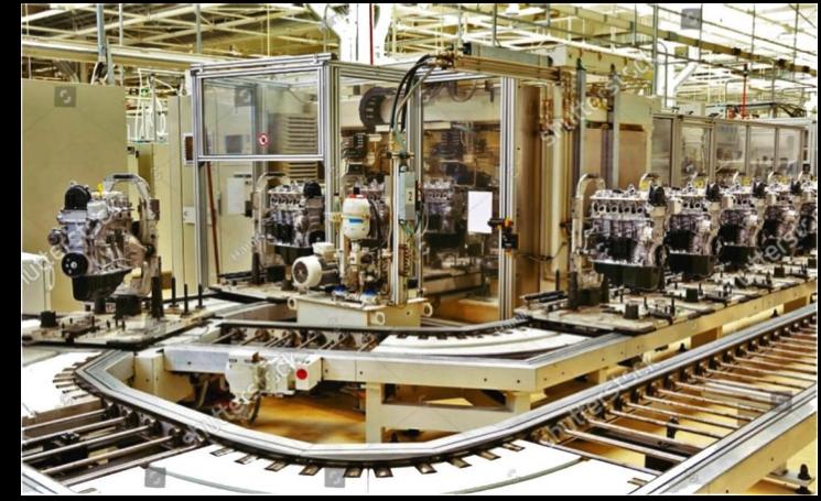 assembly line production, assembly line balancing, engine assembly, robotic assembly, assembly automation, assembly line